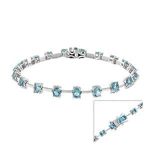 Diseño de pulsera de colour azul topacio, Plata de ley