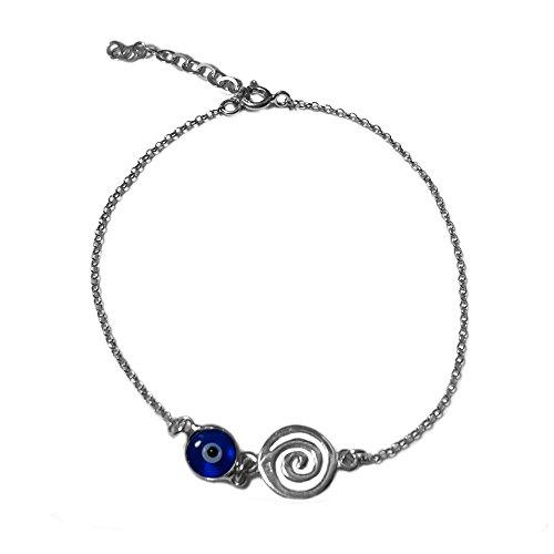 Silver Spiral Sterling Bracelet (Greek Spiral Key Double Sided Evil Eye Adjustable Bracelet Sterling Silver - 7