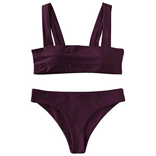ZAFUL Women's Wide Straps Padded Solid Two Piece Bandeau Bikini Set Swimsuit(Merlot, S)