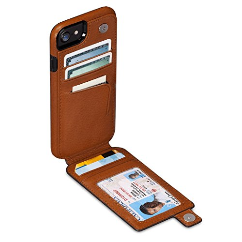 WalletSkin Leather Wallet Case for iPhone 8/7 / 6 (Tan)