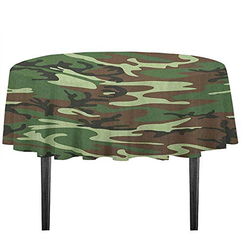 (kangkaishi Camo Washable Tablecloth Classical American Commando Uniform Inspired Pattern Forest Tile Desktop Protection pad D59.05 Inch Forest Green Pale Green Brown)