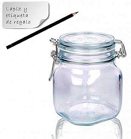 TAPAS & ENVASES RIOJA Botes Cristal Cocina Bote con Cierre hermetico con Tapa Bote para Alimentos menaje de Cocina con Cierre Manual de Aluminio Ideal para conservas Alimentos Kombucha (750 Ml)