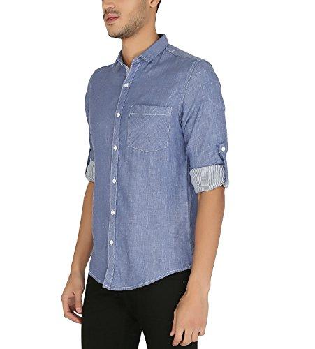 Nick & Jess Herren blau Reversible Kontrast Slim Fit Shirt