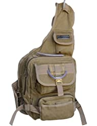 GK Eurosport Canvas Urban Sling Crossbody Bag Backpack (Khaki)