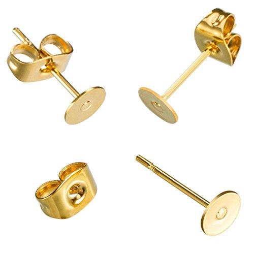c Earrings Posts | 14k Gold Plated Stud Earrings 8mm Flat Board Glue On Earring Post Setting with earnuts CF222-8 ()