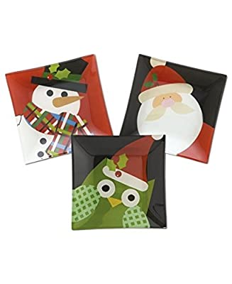 Christmas Cut-Outs Serveware Set of 3 Glass Canape Plates
