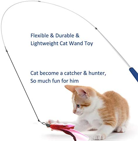 Cat Toys Interactive Cat Feather Wand, Kitten Toys 2pcs Retractable Cat Wand Toy & 7pcs Natural Feather Teaser Replacements with Bell, Telescopic Cat Fishing Pole Toy for Indoor Kitty Old Cat Exercise 7