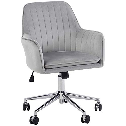 Jacky Home Office Desk Task Velvet Home Computer Chair with Mid-Back Modern Adjustable Swivel Chair with Arms (Grey)