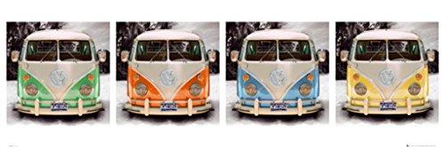 VW Volkswagen Camper Quad Art Print Door Poster 62x21