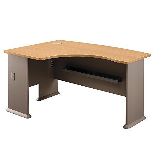Bush Business Furniture Series A Collection 60W x 44D Left Hand L-Bow Desk in Light Oak