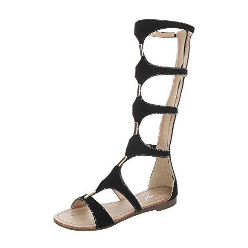 Ital-Design Zehentrenner Damenschuhe Blockabsatz Reißverschluss Sandalen Sandaletten Schwarz JN-32