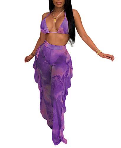 - Womens Sexy Halter Sheer Bikini Ruffle Long Pants Set 2 Piece Swimsuit Coverup Purple Size M