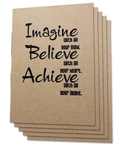 (Set of 5) A6 Handmade 4 x 5.75 inches Notebook/Imagine Quote Cover / 60 Unlined Page | Lay Flat Binding | 100 gsm Cream Paper -
