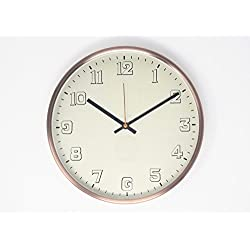 """Modern Bold Design 12"""" Non-Ticking Silent Sweep Wall Clock with Brushed Copper Finished Frame (Simply White)"""