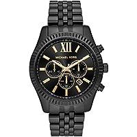 michael kors de los hombres 'Lexington' acero inoxidable de cuarzo reloj Casual, color: negro (modelo: mk8603)