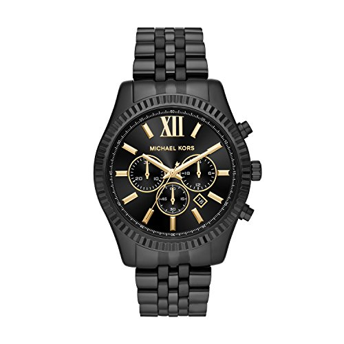 Michael Kors Men's Lexington Analog-Quartz Watch with Stainless-Steel Strap, Black, 22 (Model: MK8603) (Large Male Watches)