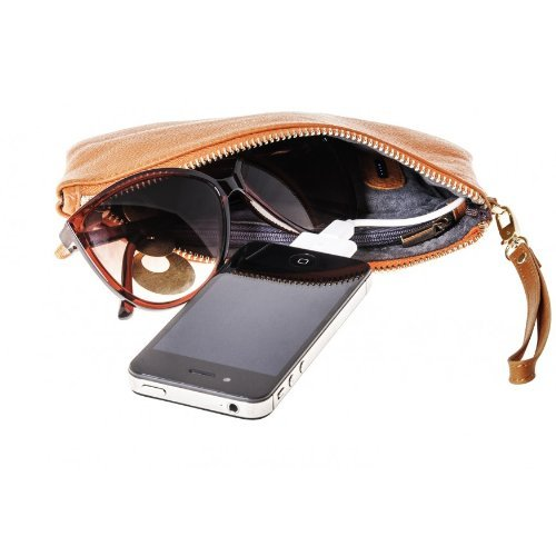 Mighty Purse Wristlet – Smartphone Charging Wristlet for iPhones and Android Phones - Genuine Leather Wristlet with Rechargeable Battery