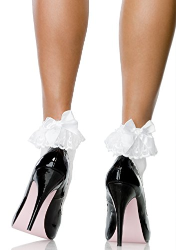 (Leg Avenue Womens Ruffle and Satin Bow Anklet Socks)