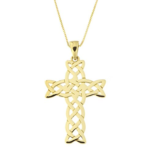 Beauniq 14k Yellow Gold Woven Celtic Cross Pendant Necklace, Pendant only