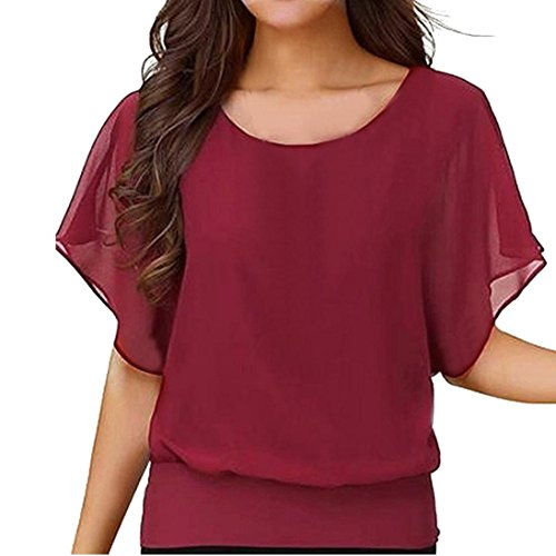 Women's Loose Casual Short Sleeve Batwing Sleeve Chiffon Top T-Shirt Blouse (Wine Red, XL)
