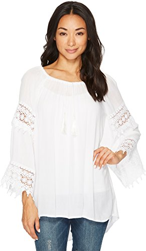 Scully Women's Honey Creek by Crochet Lace Long Sleeve Blouse White Large - Scully Lace Blouse