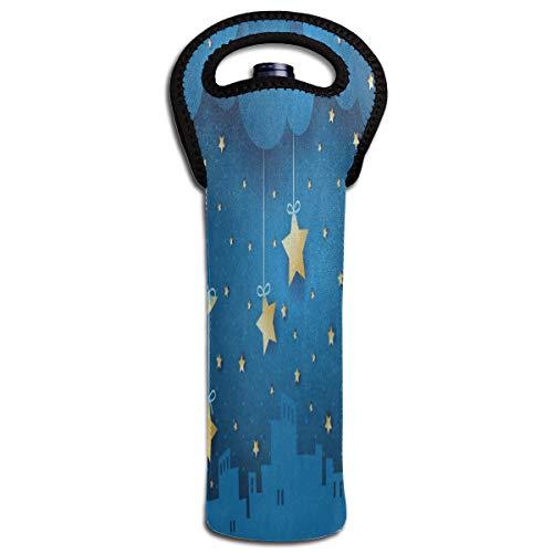 Wine Bag Starry Star Moon Cloud Sky 1 Beer Bottle Red Wine Tote Bag Protective Single Water Gift Carrier Holder Bag -
