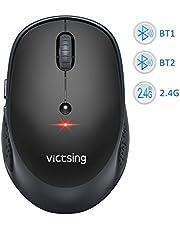 VicTsing Bluetooth-Maus Multi-Device Silent Funkmaus für Windows/Mac OS/Android, Laptop Maus kabellose Maus mit 6 Tasten, 800/1200/1600/2000/2400 DPI, 12 Monate Akkulaufzeit (DREI-Mode)