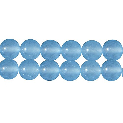 DIY Necklace Bracelet Earrings Jewelry Making Beads One Strand Semi Precious Stone Aqua Blue Chalcedony Smooth Round 8mm Loose Spacer Beads Supplies 15 Inch APX 46 Pcs