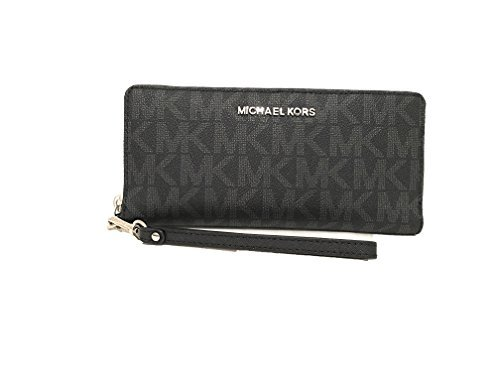 84a1a8f8801777 Michael Kors Monogram Jet Set Continental Zip Around Travel Wallet Black  PVC by Michael Kors