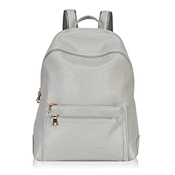 Hynes Victory Faux Leather Backpack for Women Dressy Campus Backpack Purse Grey