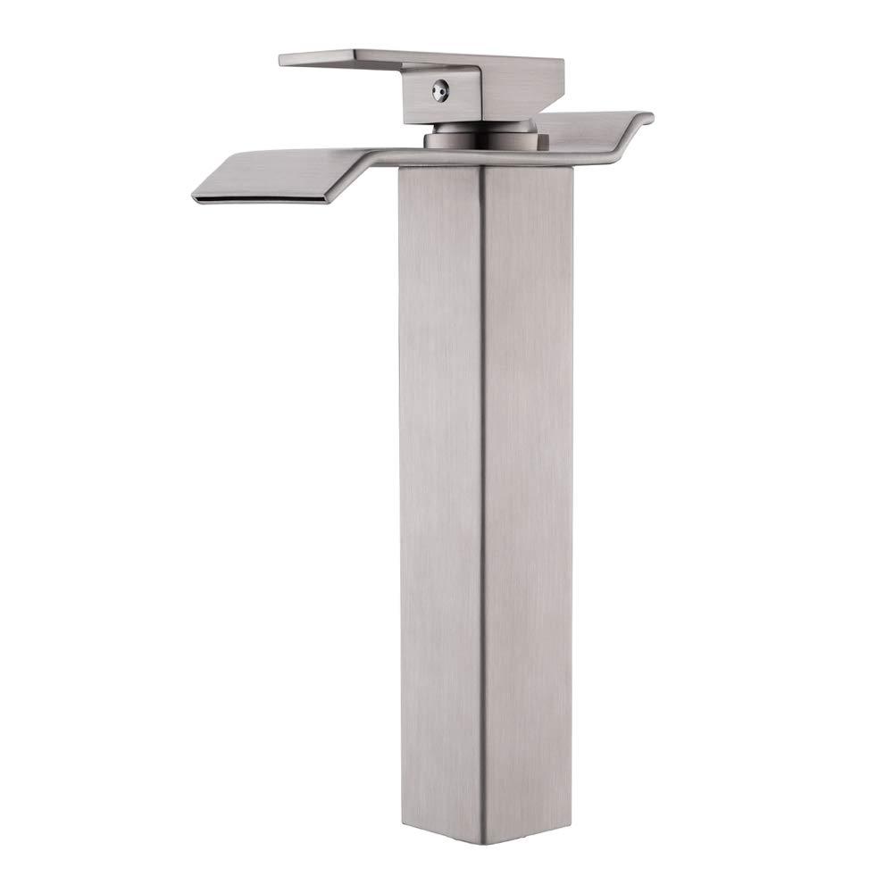 VAPSINT Modern Commercial Tall Single Handle Waterfall Brushed Nickel Vessel Sink Bathroom Faucet, Bathroom Sink Faucets by VAPSINT