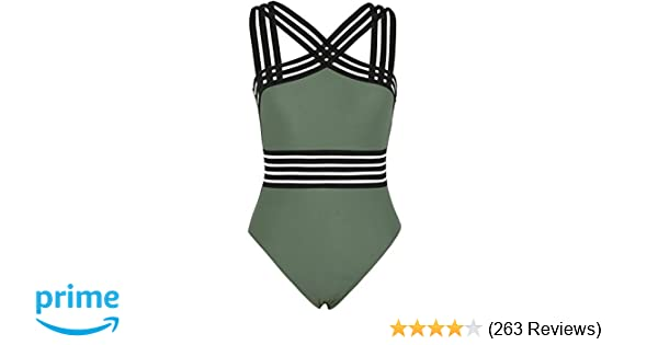 5e4725d02d Hilor Women's One Piece Swimwear Front Crossover Swimsuits Hollow Bathing  Suits Monokinis at Amazon Women's Clothing store: