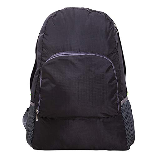 Casual Backpack Men and Women Outdoor Sports Travel Backpack Simple Waterproof Bar Bag (Black)