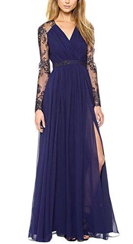 Damen Kleid Cocktailkleid Abendkleider Spitzenkleider Maxi High Waist Langarm V Neck Mit Spitzeneinsatz Stitching Geöffnete Gabel Schwingendem Saum Rüschen