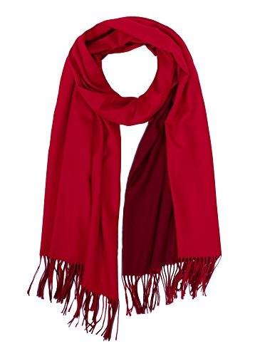 (Jaweaver Two Tone Cashmere Scarf For Women Men, Large Warm Pashmina Shawl Wrap Fall Winter Stole Reversible Scarves w/Gift Box (Purplish Red))