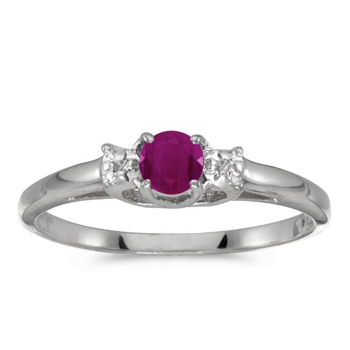 - Jewels By Lux 10k White Gold Genuine Red Birthstone Solitaire Round Ruby And Diamond Wedding Engagement Ring - Size 9 (1/4 Cttw.)