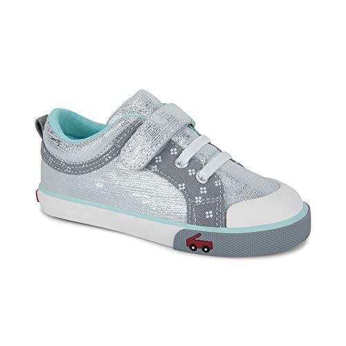 See Kai Run Girls' Kristin Sneaker, Silver Leather, 10 M US Toddler