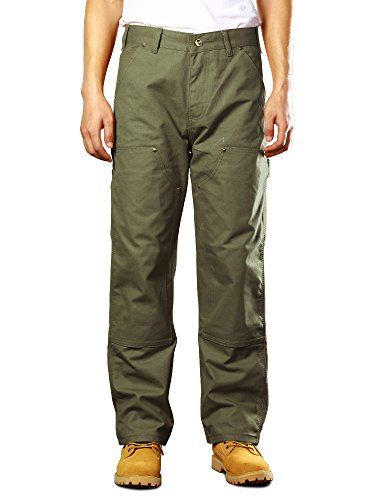 Canvas Dungaree - OCHENTA Men's Double Front Canvas Work Dungaree Cargo Pant Army Green 30
