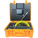 Video Pipe Inspection Camera Plumbing Drain Snake Camera Sewer Camera with 130 ft Cable, 8 inch Screen, DVR Record, Photograph, Keyboard, Distance Counter, 512Hz Sonde, LED Adjust