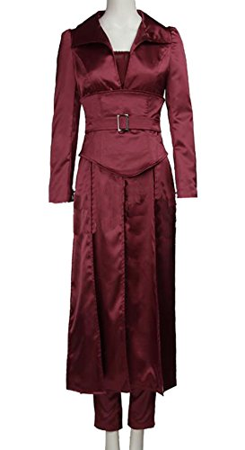 Jean Grey Costume Deluxe Reddish Satin Coat Pants Women Cosplay Outfit Accessory