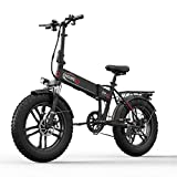 ENGWE 350W/500W Fat Tire Electric Bike, 20'' Folding Off-Road eBike with Power Assist, Build-in Alarm and Dual Ignition System