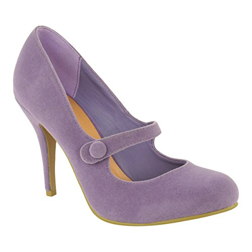 Purple Mid Heel - Fashion Thirsty Womens Low Mid High Heel Ankle Strap Court Shoes Work Pumps Sandals Size 7