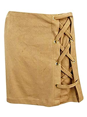 kensie Womens Faux Suede Lace-Up Mini Skirt