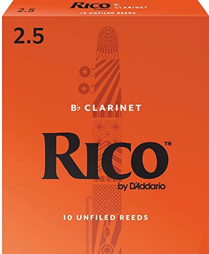 Rico by D'Addario RCA1025 Bb Clarinet Reeds, Strength 2.5, 10-pack
