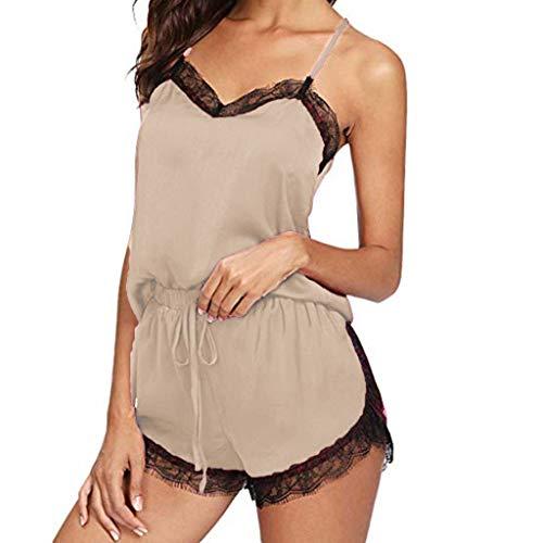Women Lingerie Sleepwear Lace Trim Satin Cami Pajamas Set Shorts Nightwear Camisole Short Sets Loungewear Beige