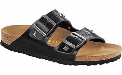 Birkenstock Unisex Arizona Sandal, Studded Black Leather, 44 M EU