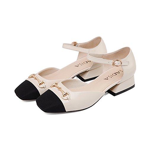 Verano de europa y los estados unidos viento zapatos de cuero/Hebilla sandalias de cabeza cuadrada/Cuero con zapatos gruesos B
