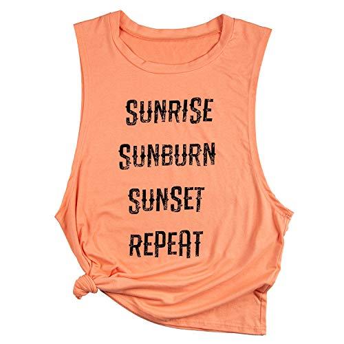 Beopjesk Womens Sunrise Sunburn Sunset Repeat Tank Tops Summer May Contain Alcohol Tanks -