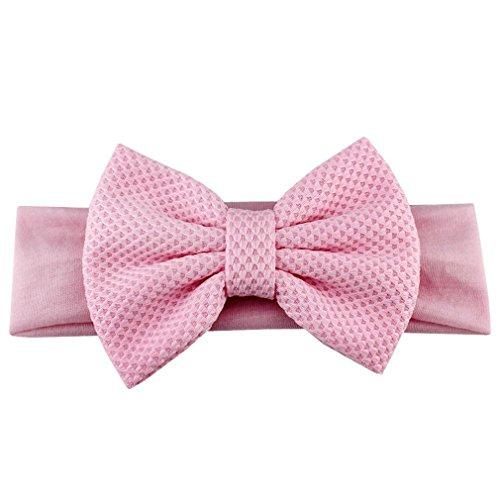 5'' Big Bow Elastic Headband For Girls Soild Hair Accessories Children And Kids Large Hair Bows Turban Hair Band Girls Headwear light pink