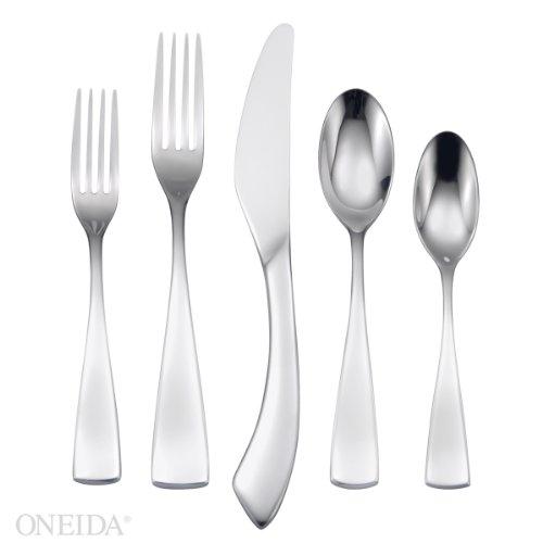 Oneida Curva 20 Piece Fine Flatware Set, 18/10 Stainless, Service for 4 (Stainless Oneida Flatware Curva)